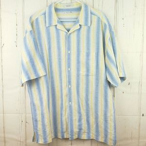 Geoffrey Beene Button Front Shirt Linen Stripes XL